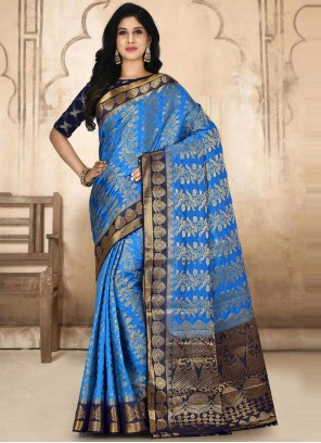 Embroidered Kanjivaram Silk Blue Designer Traditional Saree