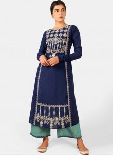 Embroidered Cotton Navy Blue Designer Kurti