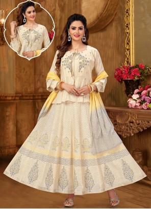 Embroidered Cream Khadi Designer Suit
