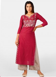 Embroidered Cotton Maroon Party Wear Kurti