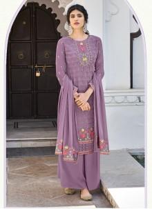Embroidered Lavender Designer Palazzo Salwar Kameez
