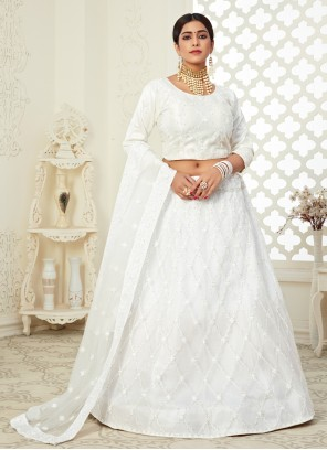 Off White Embroidered Lehenga Choli