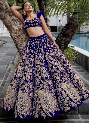 Blue Velvet Embroidered Lehenga Choli