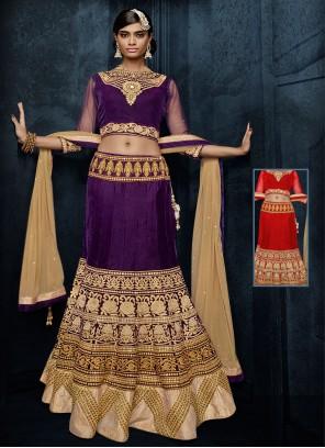 Purple Velvet Embroidered Lehenga Choli