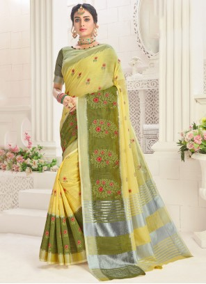 Embroidered Linen Yellow Classic Saree
