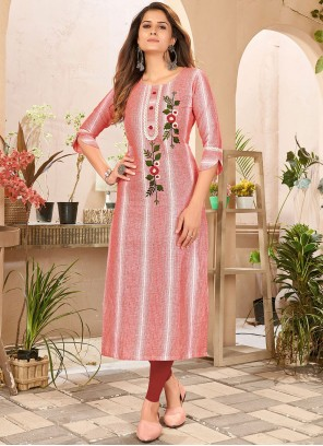 Embroidered Linen Red and White Designer Kurti