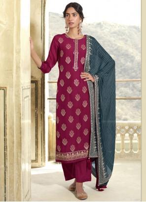 Embroidered Magenta Designer Pakistani Suit