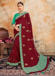 Embroidered Magenta Designer Saree
