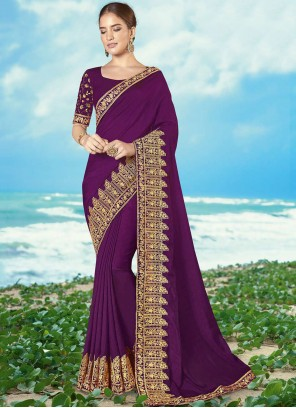 Embroidered Magenta Silk Classic Saree