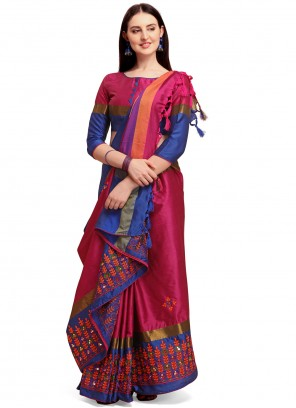 Embroidered Maroon Cotton Silk Traditional Saree