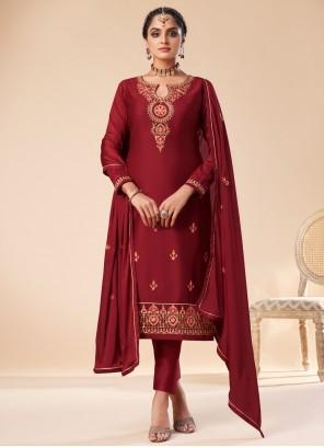 Embroidered Maroon Designer Salwar Suit