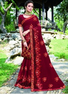 Embroidered Maroon Designer Saree
