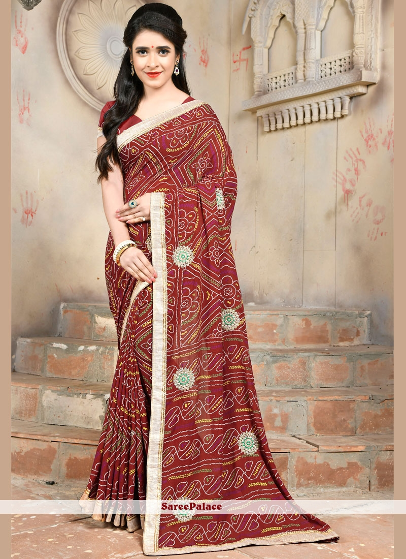 Embroidered Maroon Faux Georgette Casual Saree