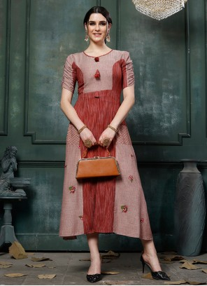 Embroidered Maroon Party Wear Kurti