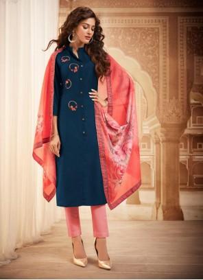 Embroidered Maslin Silk Bollywood Salwar Kameez in Blue