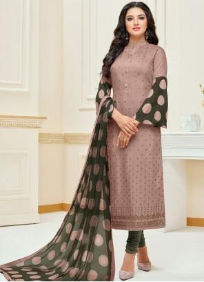 Embroidered Mauve  Chanderi Cotton Churidar Suit