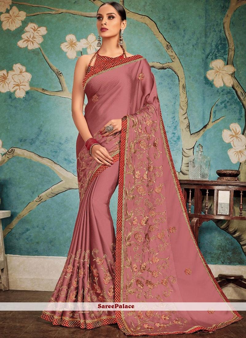 Embroidered Mauve  Designer Traditional Saree