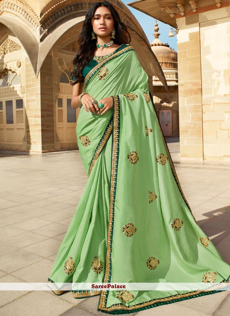 Green Embroidered Mehndi Classic Saree