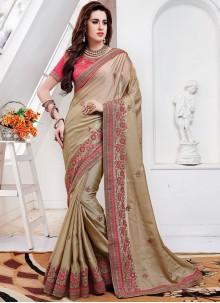 Beige Embroidered Mehndi Classic Saree