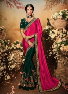 Hot Pink And Green Embroidered Mehndi Designer Half N Half Saree