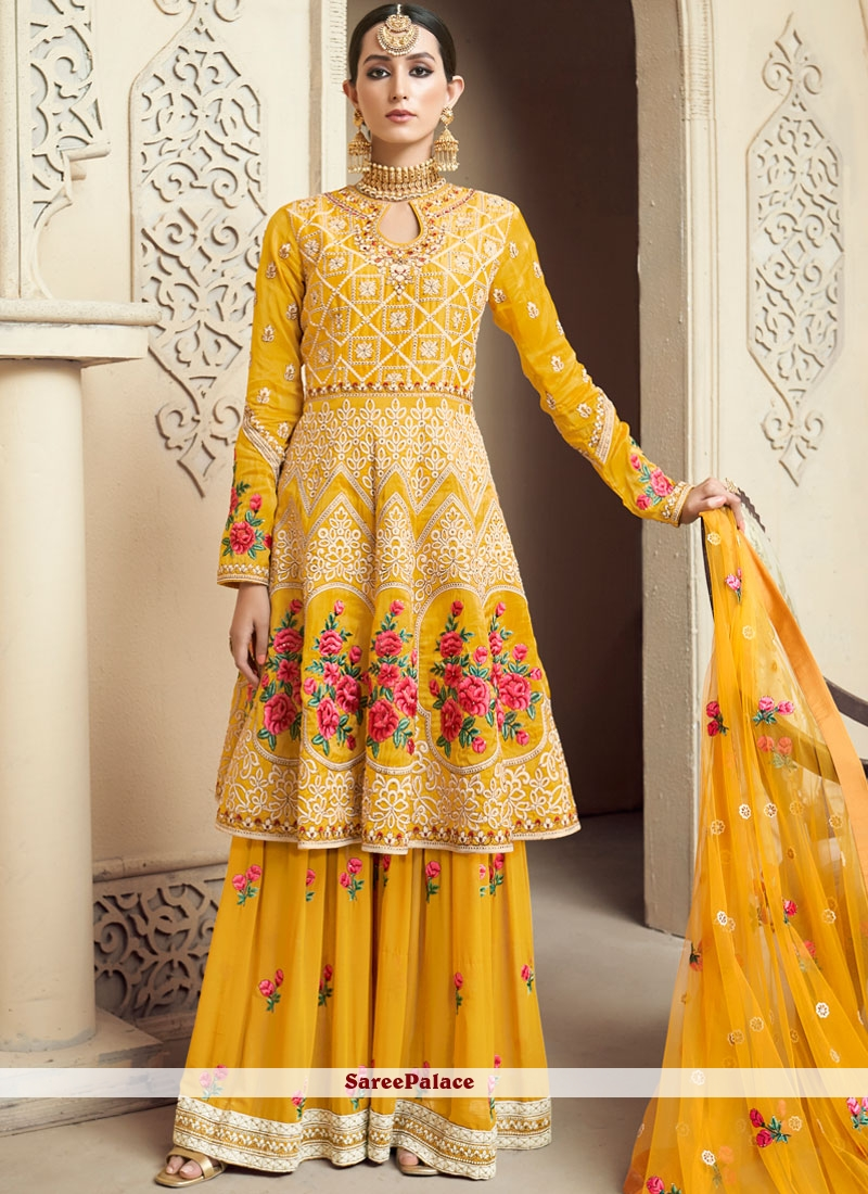 86fc0175ae0 Buy Embroidered Mehndi Designer Palazzo Salwar Suit Online