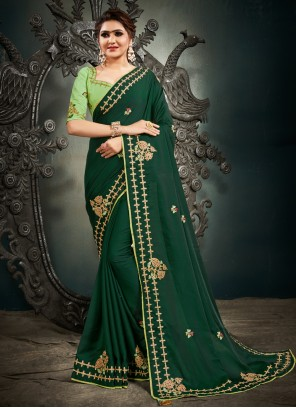 Embroidered Mehndi Green Designer Saree