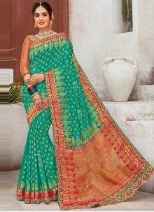 Embroidered Mehndi Designer Saree