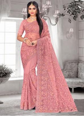 Pink Embroidered Mehndi Designer Saree