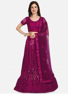 Embroidered Mehndi Purple Lehenga Choli