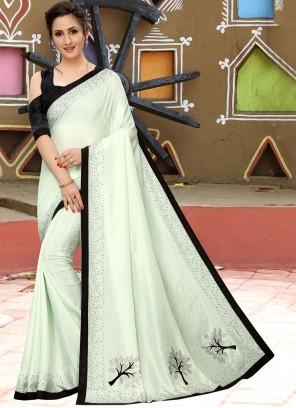 Embroidered Mehndi Silk Saree