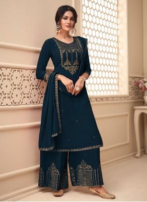 Embroidered Morpeach  Faux Georgette Designer Pakistani Suit