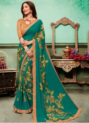 Embroidered Multi Colour Georgette Classic Saree