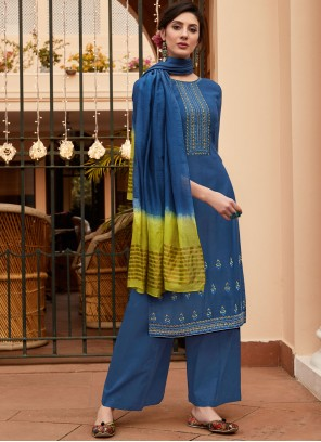 Embroidered Muslin Blue Designer Palazzo Suit