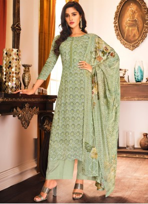 Embroidered Muslin Designer Palazzo Suit in Green