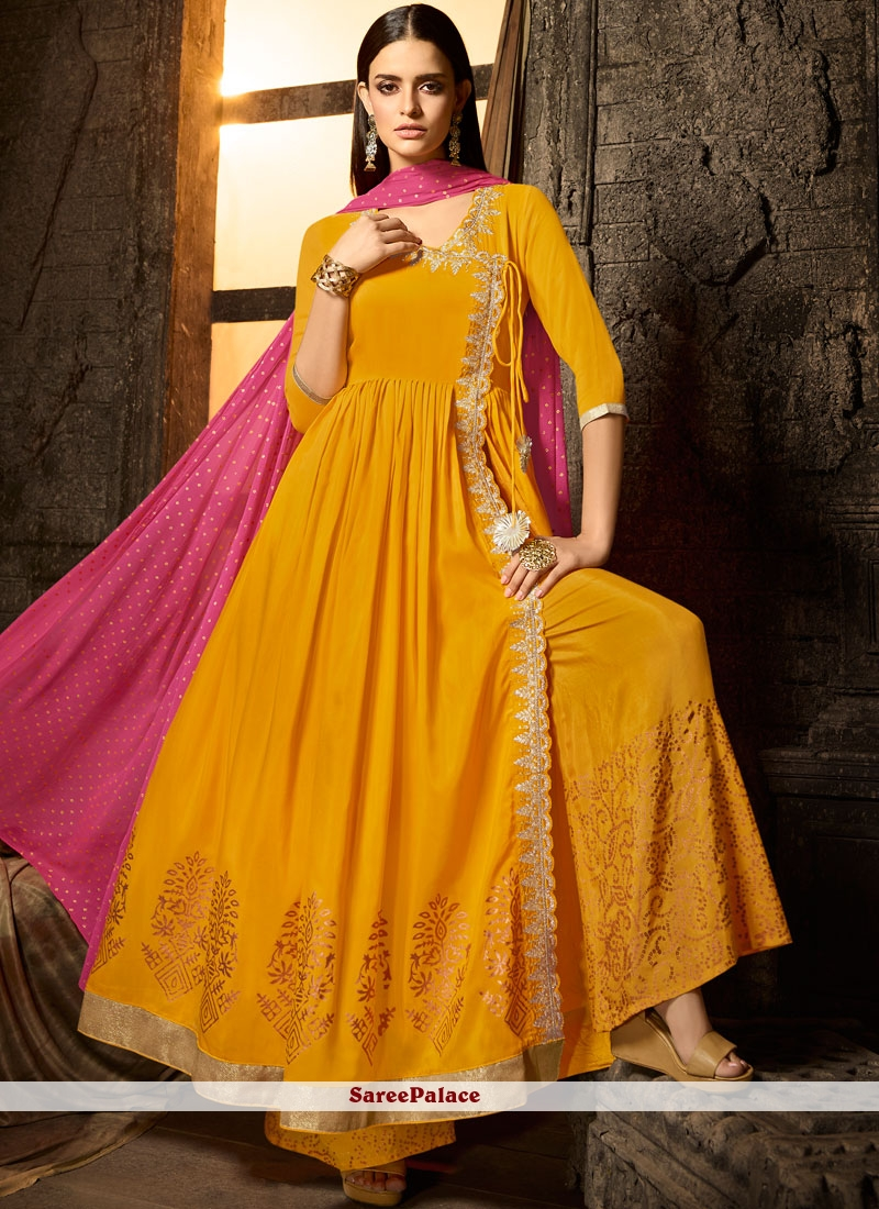 Buy Embroidered Muslin Designer Salwar Kameez In Yellow Online