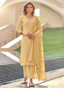 Embroidered Muslin Cream Pant Style Suit