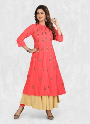 Embroidered Muslin Party Wear Kurti in Pink