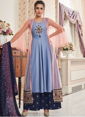 Embroidered Muslin Readymade Suit in Blue