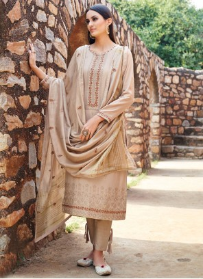 Embroidered Muslin Straight Salwar Suit in Gold