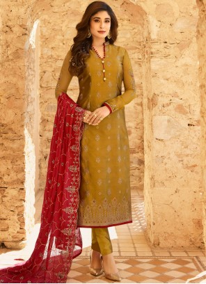 Embroidered Mustard Jacquard Pant Style Suit
