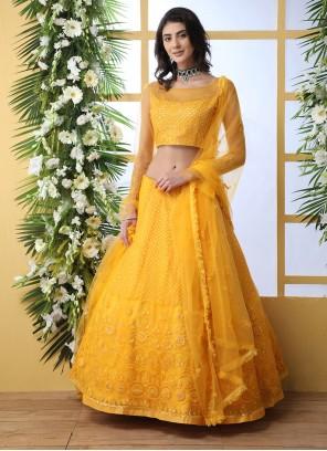 Embroidered Mustard Net Designer Lehenga Choli