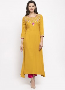 Embroidered Mustard Rayon Readymade Suit