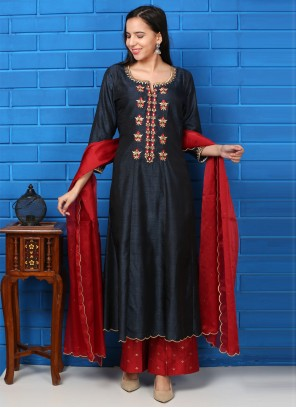 Embroidered Navy Blue and Red Silk Readymade Suit