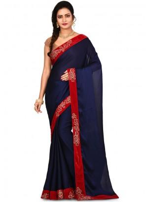 Embroidered Navy Blue Art Silk Designer Saree