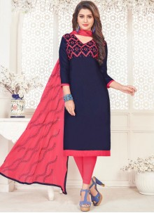 Embroidered Navy Blue Churidar Suit