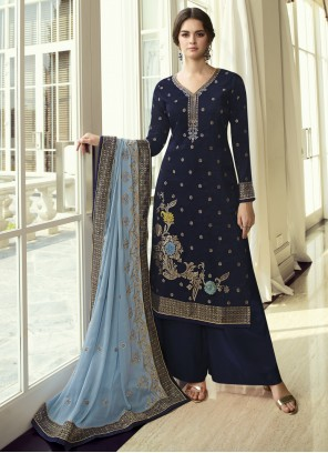 Embroidered Navy Blue Fancy Fabric Designer Pakistani Suit
