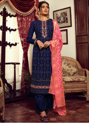 Embroidered Navy Blue Faux Georgette Designer Palazzo Suit