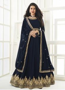 Embroidered Navy Blue Floor Length Anarkali Suit