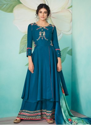 Embroidered Navy Blue Muslin Trendy Salwar Suit