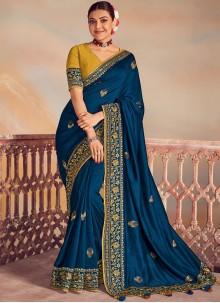 Embroidered Navy Blue Silk Classic Designer Saree
